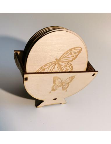 Zestaw podkładek drewnianych motyle