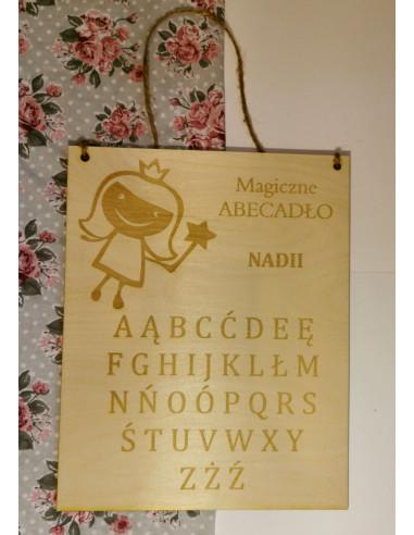Drewniany alfabet tabliczka z imieniem