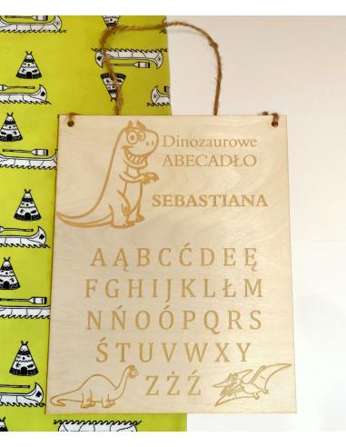 Abecadło dinozaury drewniana tabliczka