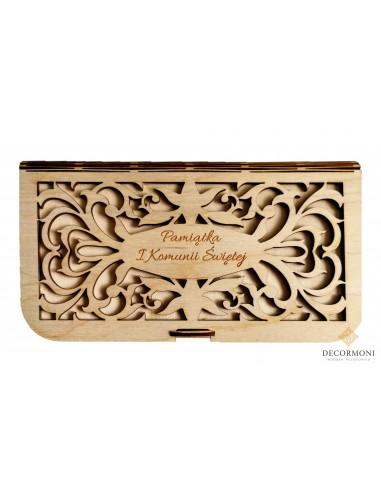 Pudełko drewniane Komunijne z życzeniami