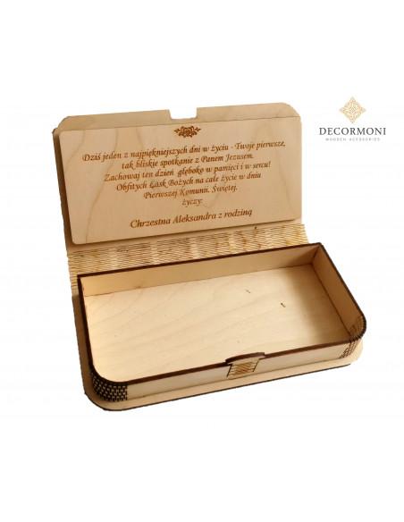 Życzenia i pudełko z drewna Komunijne