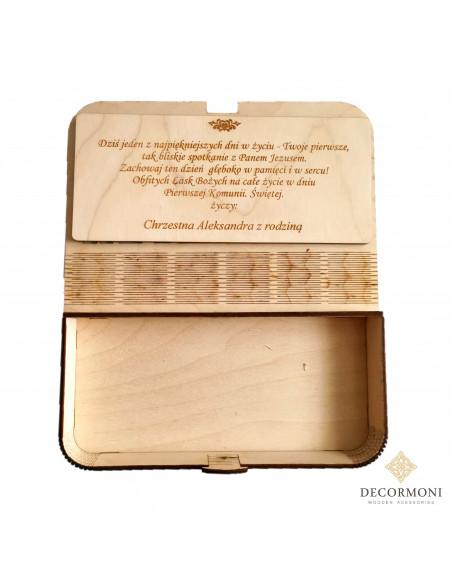 Pudełko drewniane na prezent komunijny z życzeniami
