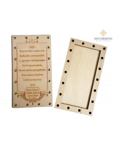 Zakręcona drewniana kartka Ślubna z...