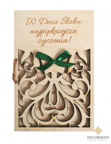 ślubna kartka z drewna