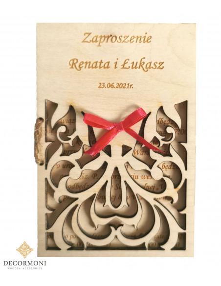 zaproszenie na ślub - kartka z drewna