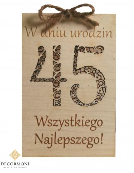 drewniane kartki urodzinowe z życzeniami