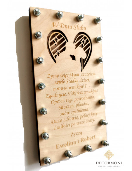 drewniany prezent ślubny kartka z życzeniami