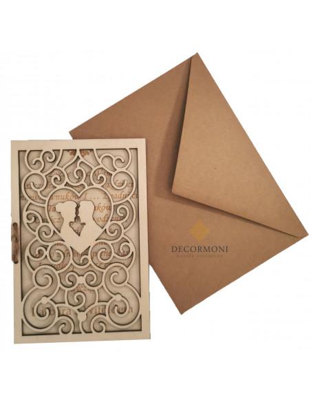 Serce drewniana kartka ślubna ażurowa