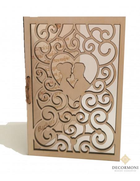 Niepowtarzalna kartka ślubna wykonana z drewna